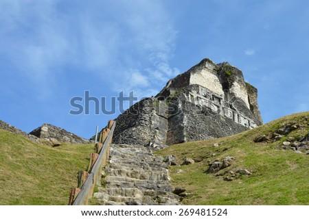 Xunantunich archeological site of Mayan civilization in Western Belize - stock photo