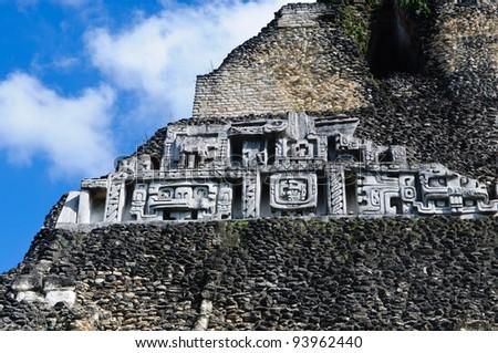 Xunantunich Belize Mayan Temple Close Up of Frieze - stock photo