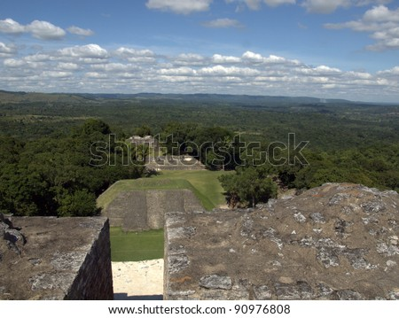 Xunantunich, Belize.  The Mayan El Castillo pyramid, rises 130 feet above the main plaza and offers an impressive Panoramic View of the Belize's Cayo District and nearby Guatemala. - stock photo