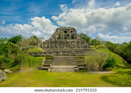 xunantunich maya site ruins in belize caribbean - stock photo