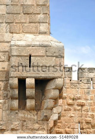 XVI century Jerusalem Old City walls, built by Sultan Suleiman the Magnificent. - stock photo