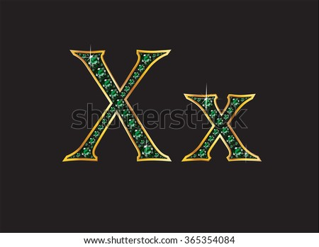 Xx in stunning emerald precious round jewels set into a 2-level gold gradient channel setting, isolated on black. High-resolution raster JPEG version.  - stock photo