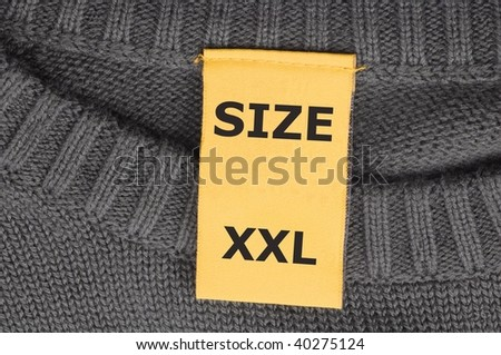 xxl size or extra large on fashion label tag