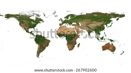 XXL size physical world map illustration .Clipping path included.  Primary source, elements of this image furnished by NASA. Over 200 Mega Pixels resolution. Isolated over pure white background. - stock photo