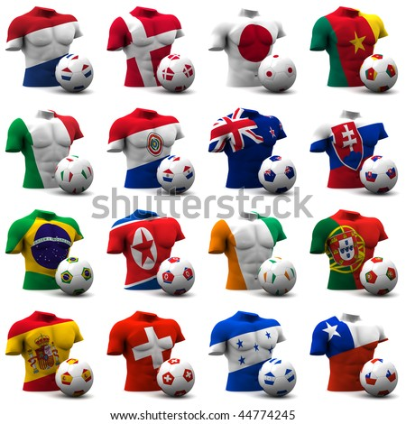 XXXL 3D render of Groups E to H participating in the World Cup 2010 tournament to be held in South Africa. Athletic torso and ball depicted. Medium resolution - look out for more 2010 images. - stock photo