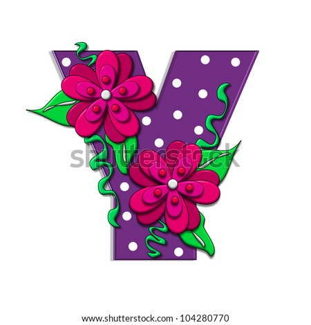 """Y, in the alphabet set """"Clinging Vine"""", is decorated with mod flowers in three layers.  Letters are purple and vines and leaves are mint green. - stock photo"""