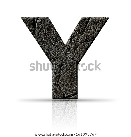 y  letter cracked cement texture