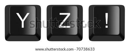 Y, Z, ! black computer keys alphabet isolated on white - stock photo