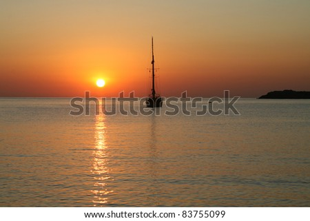 Yacht and morning sun