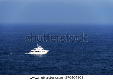 Yacht at open ocean