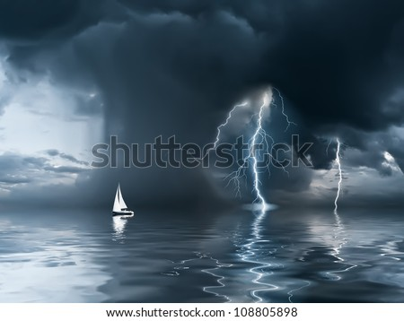 Yacht at the ocean, comes nearer a thunderstorm with rain and lightning on background - stock photo