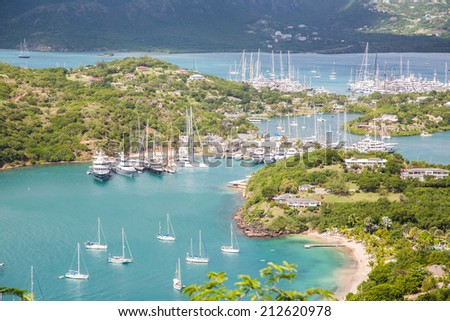Yacht basin in Antigua from hills - stock photo
