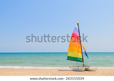 yacht boat on the beach - stock photo