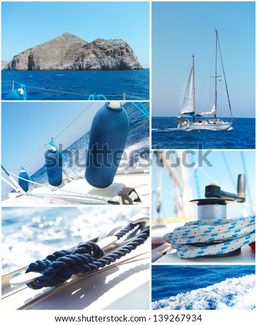 Yacht bright collage. Sailboat. Yachting concept - stock photo