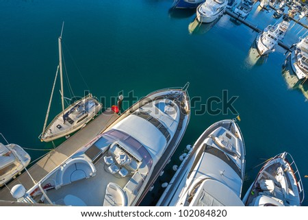 Yacht Club and the port on the outskirts of Barcelona, boats, yachts in the Sant Adria de Besos, Barcelona, Catalonia, Spain - stock photo