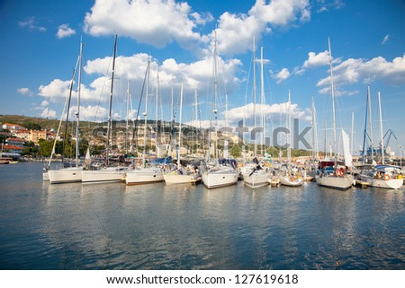 Yacht Club in  Balchik on the Black sea coast, Bulgaria. - stock photo