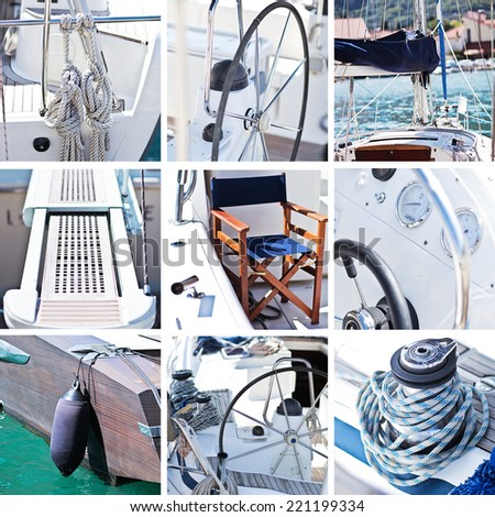 Yacht collage. Sailboat.Yachting concept - stock photo