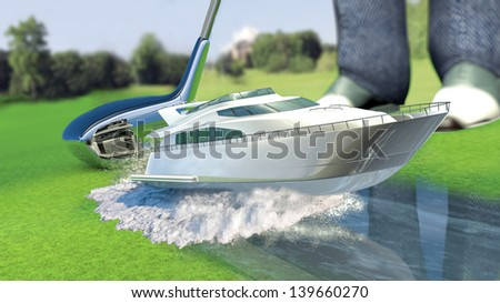 Yacht golf concept metaphor.Yacht hit by a golf club. Kick off. - stock photo