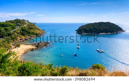 Yacht group at Phuket island, Southern of Thailand - stock photo