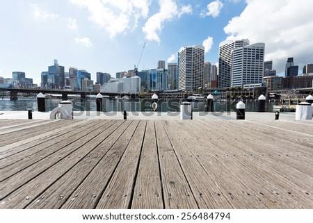 yacht harbor and cityscape of sydney - stock photo