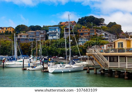 Yacht harbor and waterfront in Tiburon, CA.  View from the water of boats and hillside homes.  Tiburon is an affluent suburb of San Francisco on the bay.