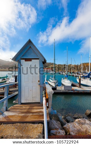 Yacht harbor at Fort Baker, California, near the Golden Gate Bridge and San Francisco - stock photo