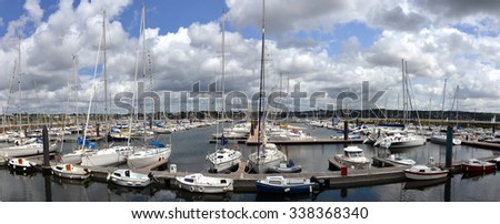 yacht harbor in Brest, Brittany in France - stock photo