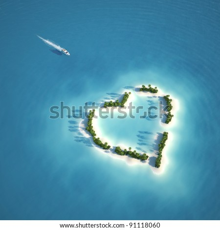 yacht heading to heart shaped island seen from the air concept for romantic vacation or valentines - stock photo