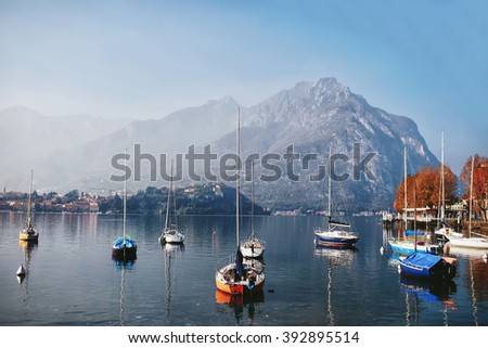 yacht in a mountain lake Como