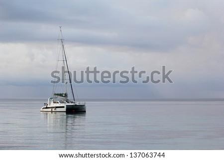 yacht in andaman sea, Koh Rok or Rok Island ,Thailand - stock photo