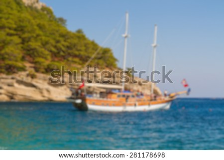yacht in the laguna sea abstract blur background - stock photo