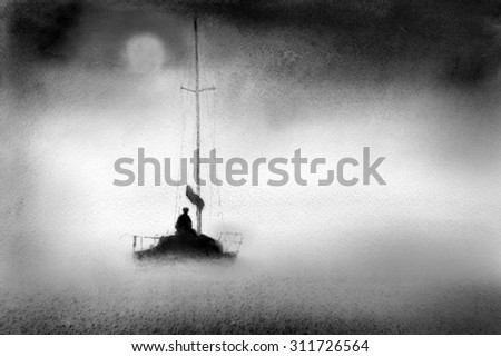 Yacht in the night mist