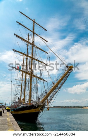Yacht in the port - stock photo