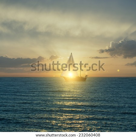Yacht in the sea before sunset