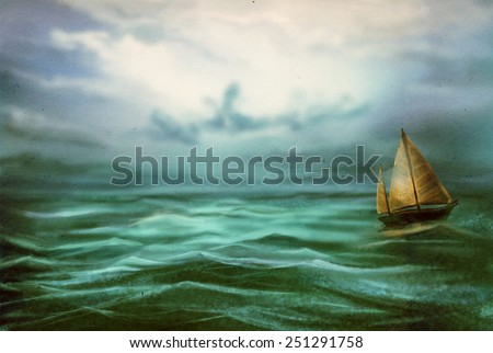 Yacht in the sea in a light storm. Digital sketch. - stock photo