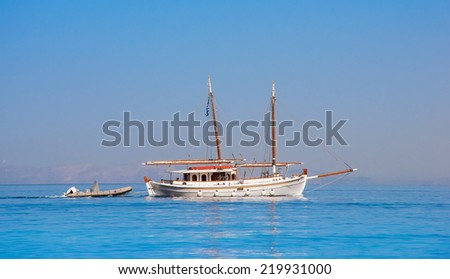 Yacht in the sea  on a background of the sky - stock photo