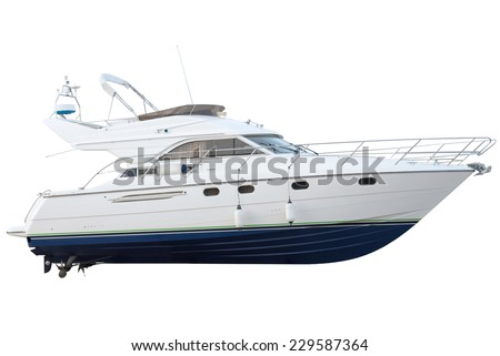 yacht isolated on a white background - stock photo
