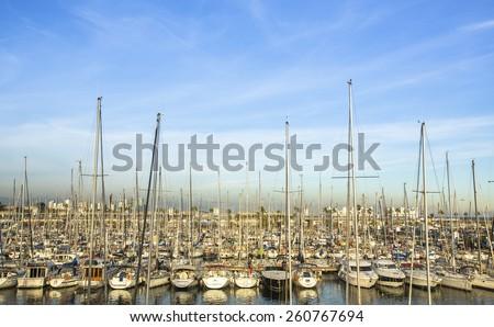 Yacht marina. Sailboat harbor. Luxury lifestyle.  - stock photo
