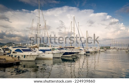 Yacht marina San-Antonio pier. Eivissa, Balearic islands, Spain - stock photo