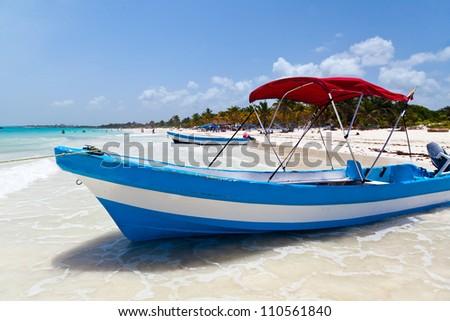 Yacht Moored in Playa Paraiso, Mayan Riviera, Mexico - stock photo