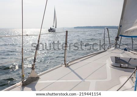 yacht on lake - stock photo