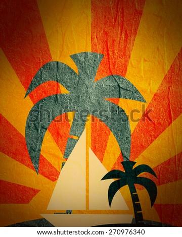 yacht on sun burst stucco textured background - stock photo