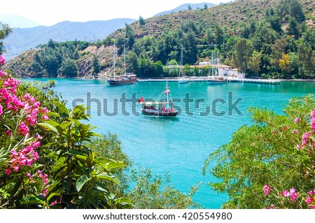 Yacht on the sea, beautiful bay in Turkey - stock photo