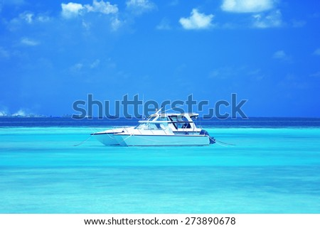 Yacht over ocean water background - stock photo