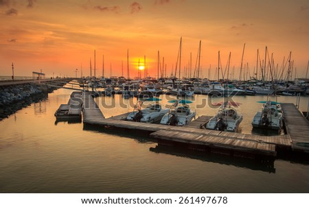 Yacht Parking Pier With Sunset - stock photo