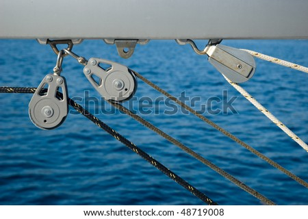 yacht rigging close up - stock photo