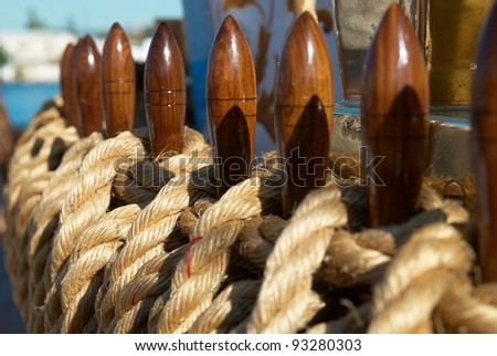 Yacht's ropes and tackles- marine rigging equipment. - stock photo