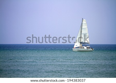 yacht, sailboat in the sea