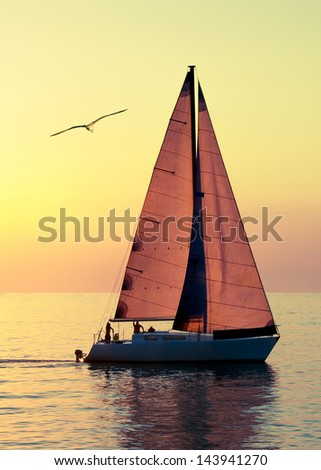 Yacht sailing against sunset. Holiday lifestyle landscape with skyline sailboat and seagull. Yachting tourism - maritime evening walk. Romantic trip on luxury yacht during the sea sunset. - stock photo