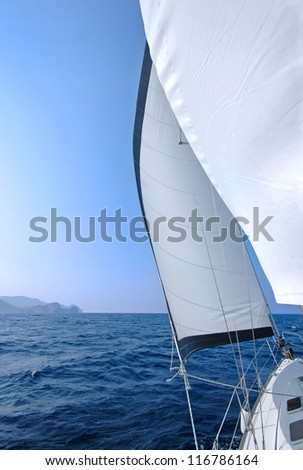 Yacht sailing in the Mediterranean - stock photo